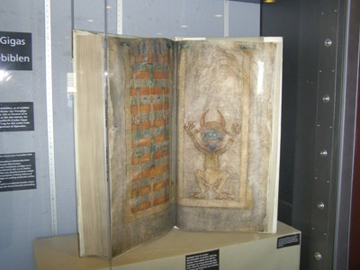 Display-case with the Devil´s Bible – Codex Gigas.