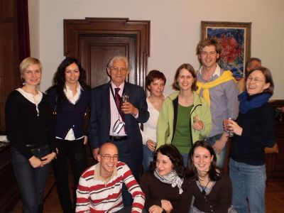 Director Piro Milkani with Czech expatriots and students