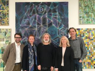 The delegation at the exhibition of Vladimír Kokolia in Brno (from left to right: Matthew Stephenson, Megan Piper, Vladimir Kokolia, Susan Moore, Miroslav Ambroz)      Members of the delegation visiting Daniel Pitín´s Art studio in Prague       A joint photo with František Skála at his exhibition in the Wallenstein Riding School in Prague      Presentation of Professor Vladimír Kokolia in the House of Photography in Prague