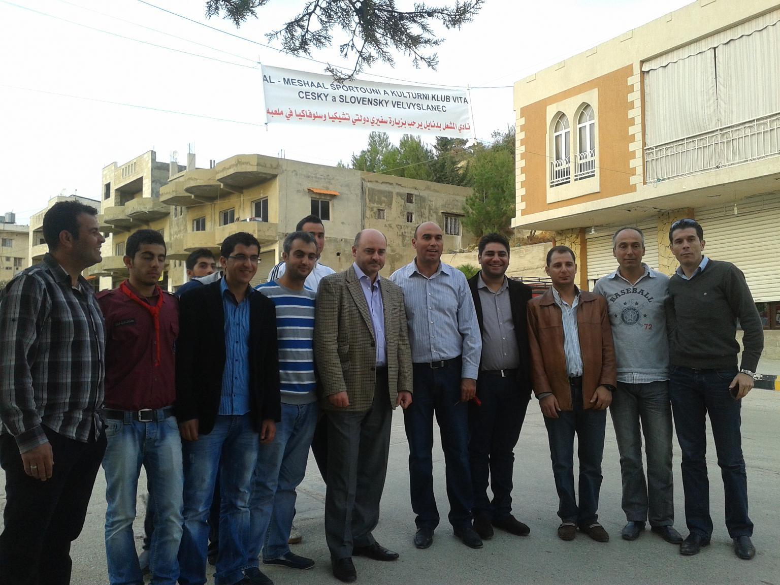 Ambassador Cumba with members of al-Meshaal Sporting and Social Club (Bednayel, 16.11.2012)