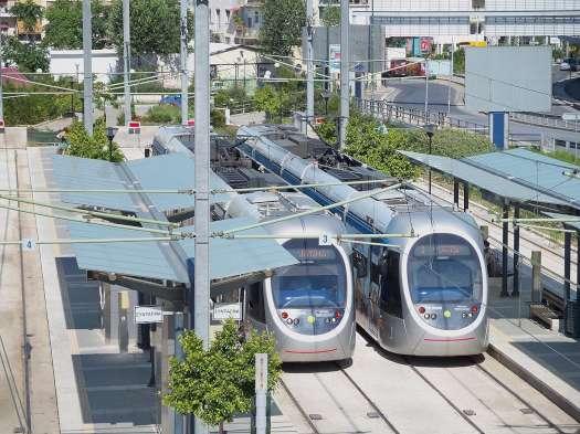 Jedna z konečných stanic athénské tramvaje