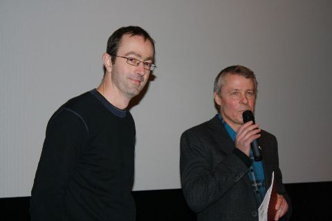 Director Petr Zelenka (on the left) and the program director of the Cinemateket Jesper Andersen introduced the film The Karamazovs