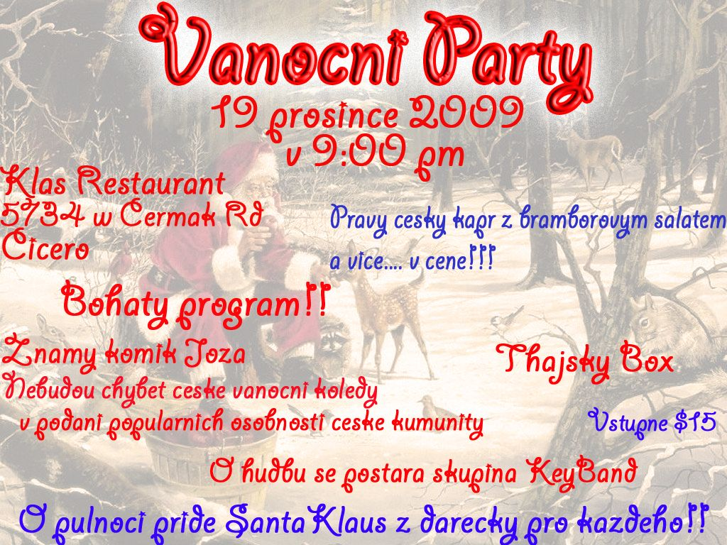 vanocni party plakat