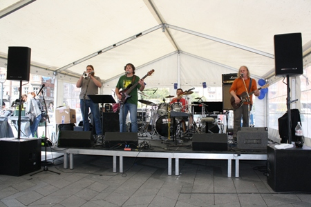 "The performance of the Czech punk band ""Už jsme doma"" at the City Hall square"