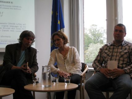 From the left: Writer Víťo Staviarsky, interpreter Ľubica Pedersen and writer Jiří Holub