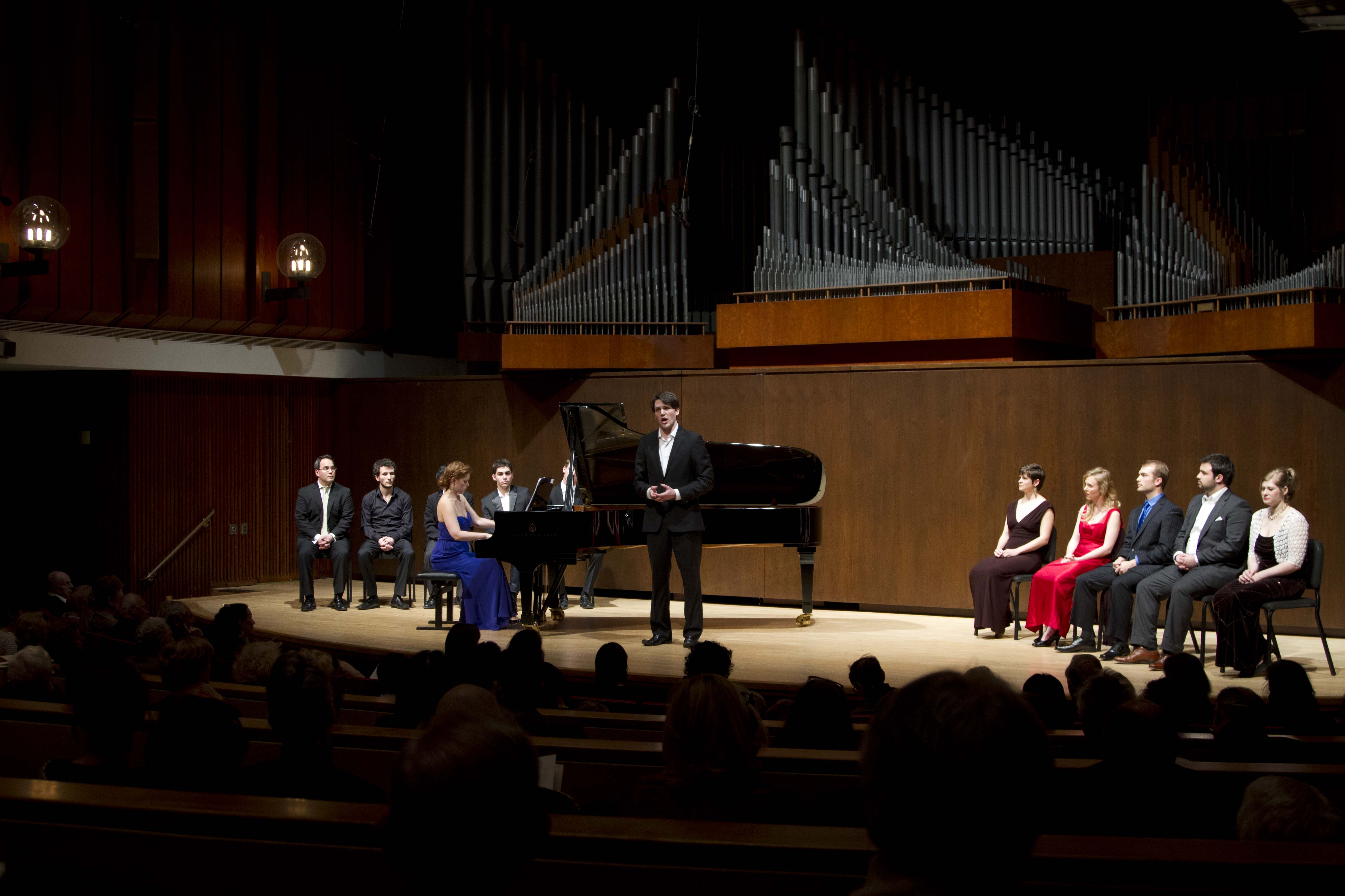 Juilliard singers performing an all-Czech Liederabend in Juilliard's Paul Hall