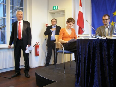 Left to right: Head of the EC Representation Jan Høst Schmidt, Klaus Bischoff, Petra Hůlová and the translator, assoc. professor Peter Bugge