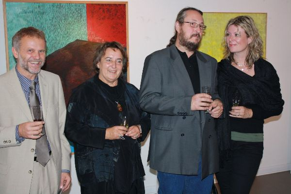 From the left: The Czech Ambassador Zdeněk Lyčka, the director of Shambala Gallery Libuše Müller, the painter Jan Tichý and his wife
