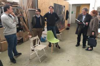 Members of the delegation visiting Daniel Pitín´s Art studio in Prague