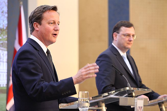 PMs Cameron and Necas in Prague