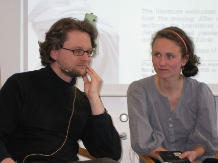 Writer Wojciech Kuczok and interpreter and translator Judyta Preis