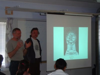 Z. Lyčka, M. Velíšek and the shaman (photo Kristian Samuelsen)