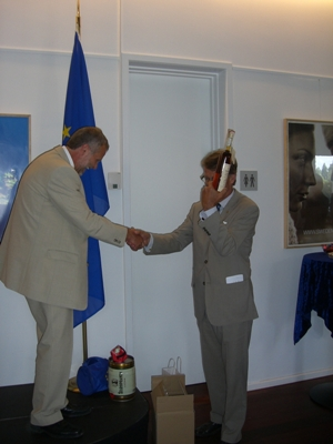 Hand-over of the Presidency with a symbolic bottle of slivovitz from the Wallachian Kingdom