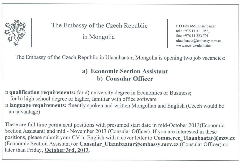 Vacancy Announcement | Embassy of the Czech Republic in Ulaanbaatar