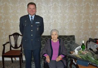 Czech Defence Attaché Col. Jiří Svatoš with Mrs Anděla Haida on the occasion of her 103rd birthday      Mrs Anděla Haida while working in the WAAF      Col. Jiří Svatoš pays homage at the grave of Sgt. Josef František      The grave of Flight Lt. Karel Kuttelwascher