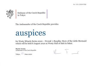 "Auspices for the Westy Miracle Series 2020 opera ""Rusalka"""