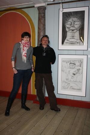 Direktøren for Maniitsoqs Museum Tea Dahl Christensen sammen med Martin Velíšek