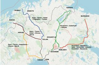 Vybraná trasa pro Arktickou železnici (zeleně)